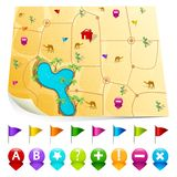 Desert Map with GPS icons Stock Photos