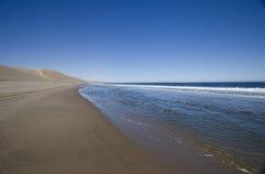 Desert Meets the Ocean. Namib Desert Meets the Atlantic Ocean. Sand dunes fall away to the sea. Sandwich Harbor, Namibia royalty free stock photo