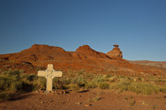 Desert With Memorial Cross Stock Image