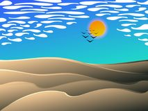 Desert midday landscape cartoon style. Desert midday landscape , vector cartoon illustration with clouds bird and sand dunes Stock Photography