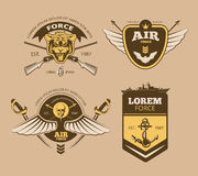 Desert military vintage vector labels Stock Image