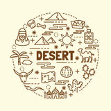 Desert minimal thin line icons set Stock Photos