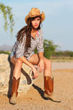Desert model shoot. A beautiful young model poses in the desert Stock Photos