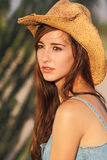 Desert model shoot. A beautiful young model poses in the desert Royalty Free Stock Photography
