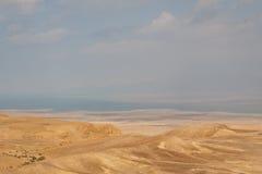 Desert moon-alike landscape near Masada Royalty Free Stock Image