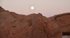 Desert Moon. Rising over close rocks in Utah Sunset light Stock Photography