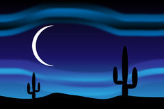 Desert at moonlit night Stock Photo