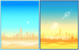 Desert  morning and afternoon. Two stylized vector illustration of a city in the desert in the morning and at the afternoon. Illustration seamless horizontally Stock Image