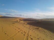 DESERT OF MOROCCO. BEAUTIFUL LANDSCAPE . THE  GOLD DUNES OF DESERT OF MERZOUGA, THE KINGDOM OF MOROCCO NORTH AFRICA Stock Image