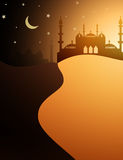 Desert and mosque Islamic background Royalty Free Stock Photo