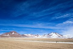 Desert and mountain on Altiplano,Bolivia Stock Photography