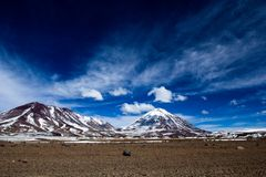 Desert and mountain on Altiplano,Bolivia Royalty Free Stock Images