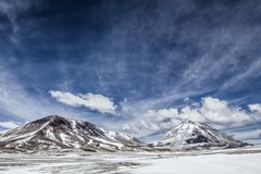 Desert and mountain on Altiplano,Bolivia Royalty Free Stock Photography