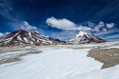 Desert and mountain on Altiplano,Bolivia Royalty Free Stock Photo