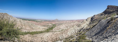 Desert, mountain and blue sky in Ischigualasto, Argentina Stock Photos
