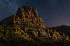 Desert Mountain Evening Stars. Beautiful calm starry night with clear skies over Sedona, Arizona, desert mountains