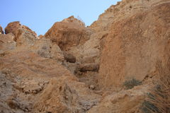 Desert Mountain Landscape in Ein Gedi. View of a sharply sloped desert rock mountain in the nature reserve of Ein Gedi. Ein Gedi is an oasis, situated on the Stock Photography