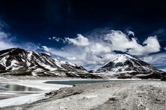 Desert and mountain over blue sky and white clouds on Altiplano,Bolivia Royalty Free Stock Photo