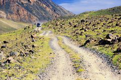 Desert mountain road in Mongolia Stock Images