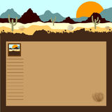 Desert, mountains, cactuses and tumbleweed. Background for a site or the blog Royalty Free Stock Photo