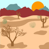 Desert, mountains, cactuses and tumbleweed. Vector illustration Stock Photography