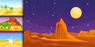 Desert mountains sandstone wilderness landscape background dry under sun hot dune scenery travel vector illustration. Environment scene sandstone africa Stock Images