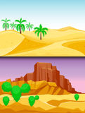 Desert mountains sandstone wilderness landscape background dry under sun hot dune scenery travel vector illustration. Stock Photo