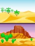 Desert mountains sandstone wilderness landscape background dry under sun hot dune scenery travel vector illustration. Environment scene sandstone africa Stock Photo
