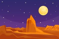 Desert mountains sandstone wilderness landscape background dry under sun hot dune scenery travel vector illustration. Environment scene sandstone africa Royalty Free Stock Image
