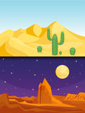 Desert mountains sandstone wilderness landscape background dry under sun hot dune scenery travel vector illustration. Royalty Free Stock Photos