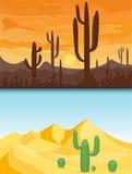 Desert mountains sandstone wilderness landscape background dry under sun hot dune scenery travel vector illustration. Environment scene sandstone africa Royalty Free Stock Photo