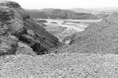 Desert mountains valley landscape b&w, park traveling nature. Desert mountains valley landscape scenic beautiful view, Arava , Timna park Sasgon Israel Stock Photo