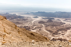 Desert mountains valley landscape view, Israel traveling nature. Stock Photo