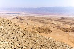Desert mountains valley landscape view, Israel traveling nature. Royalty Free Stock Photo