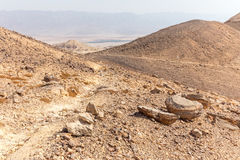 Desert mountains valley landscape view, Israel traveling nature. Royalty Free Stock Photography