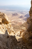 Desert mountains valley landscape view, trail marking traveling Royalty Free Stock Photos