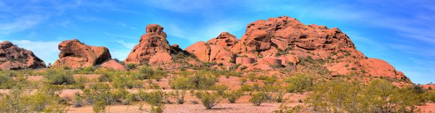 Desert Mountains and Water Tanks. Papago park and water storage tanks Phoenix Arizona stock image