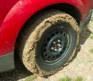 Desert mud caked on a tire Stock Photo