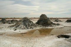 Desert mud pots Royalty Free Stock Photo