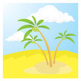 Desert. Nature view for desert with coconut trees and blue sky Royalty Free Stock Photo