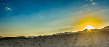Desert Negev. Sunset in the Negev Desert landscape Stock Photo