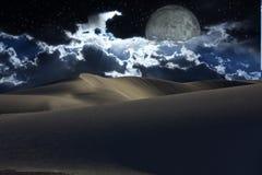 Desert Night. Desert at night with full moon Royalty Free Stock Photo
