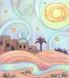 Desert Night. An illustration of an old city in the desert, made with markers and colored pencils vector illustration
