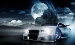 Desert Night Race. Cool Dark Performance Car Theme with Desert Landscape and Large Moon. Desert Racing Abstract Theme Stock Photography