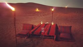Desert nights with torches Royalty Free Stock Photos