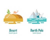 Desert and North Pole landscape. flat design elements. vector il royalty free illustration