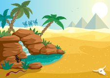 Desert Oasis. Cartoon illustration of small oasis in the Sahara desert. A4 proportions Stock Photography