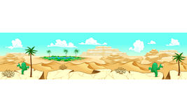 Desert with oasis. Vector illustration with measures: 6144x1536 pixels, adaptable to iPad screen. The sides repeat seamlessly for a possible, continuous Royalty Free Stock Photo