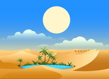 Desert oasis background. Egypt hot dunes with palm trees, bedouin and camels vector illustration Royalty Free Stock Images