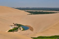 Desert oasis in Dunhuang stock photo